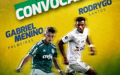 Rodrygo, do Santos, e Gabriel Menino, do Palmeiras, estão convocados para a Seleção Brasileira Sub-20