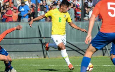 Gabriel Menino, do Palmeiras, marca golaço pela Seleção Brasileira Sub-20