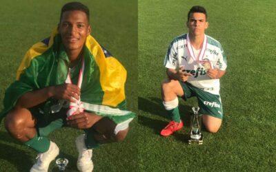 Caio e Athos, meio-campistas do Palmeiras Sub-14, são campeões no Japão