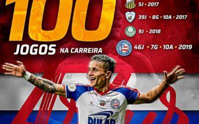 Em grande fase no Bahia, Artur completa 100 jogos como profissional