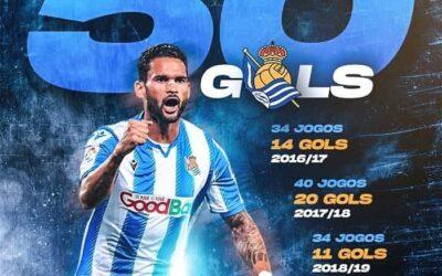 Willian José atinge marca de 50 gols pela Real Sociedad