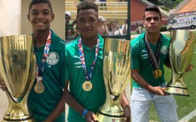 Luis Guilherme, Caio e Athos comemoram título do Paulista Sub-15 pelo Palmeiras